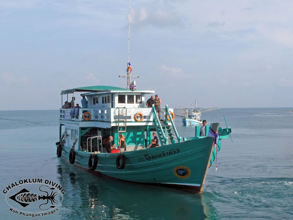 Chaloklum Diving's big boat on Koh Phangan, Thailand