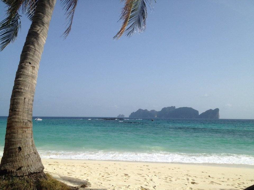 View from a beach at Koh Phi Phi towards Koh Phi Phi Ley