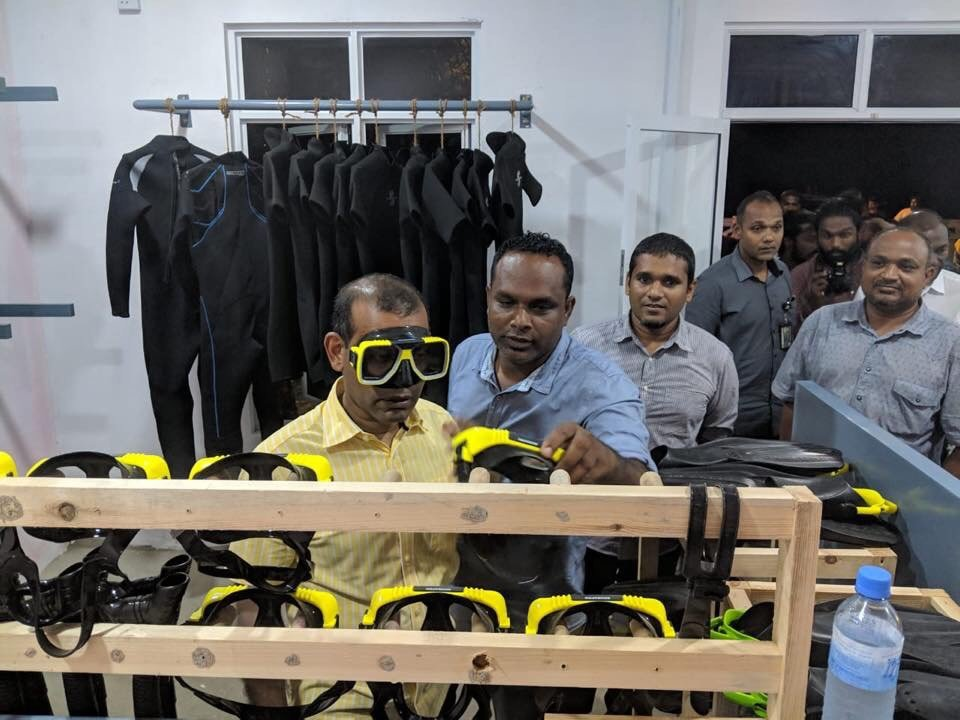 President  Mohamed Nasheed open our dive center