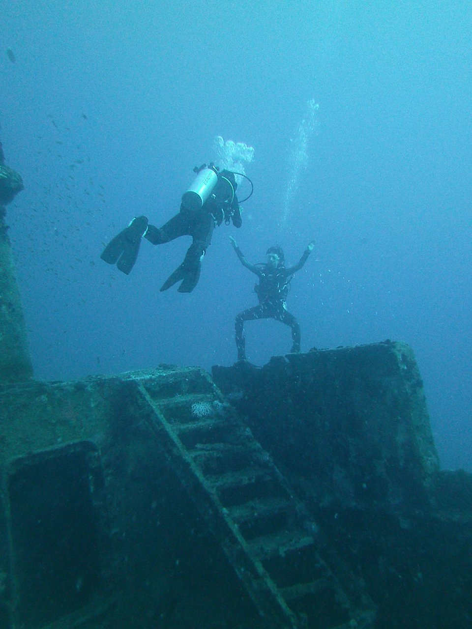 Diving in Kuda Giri wreck Maldives