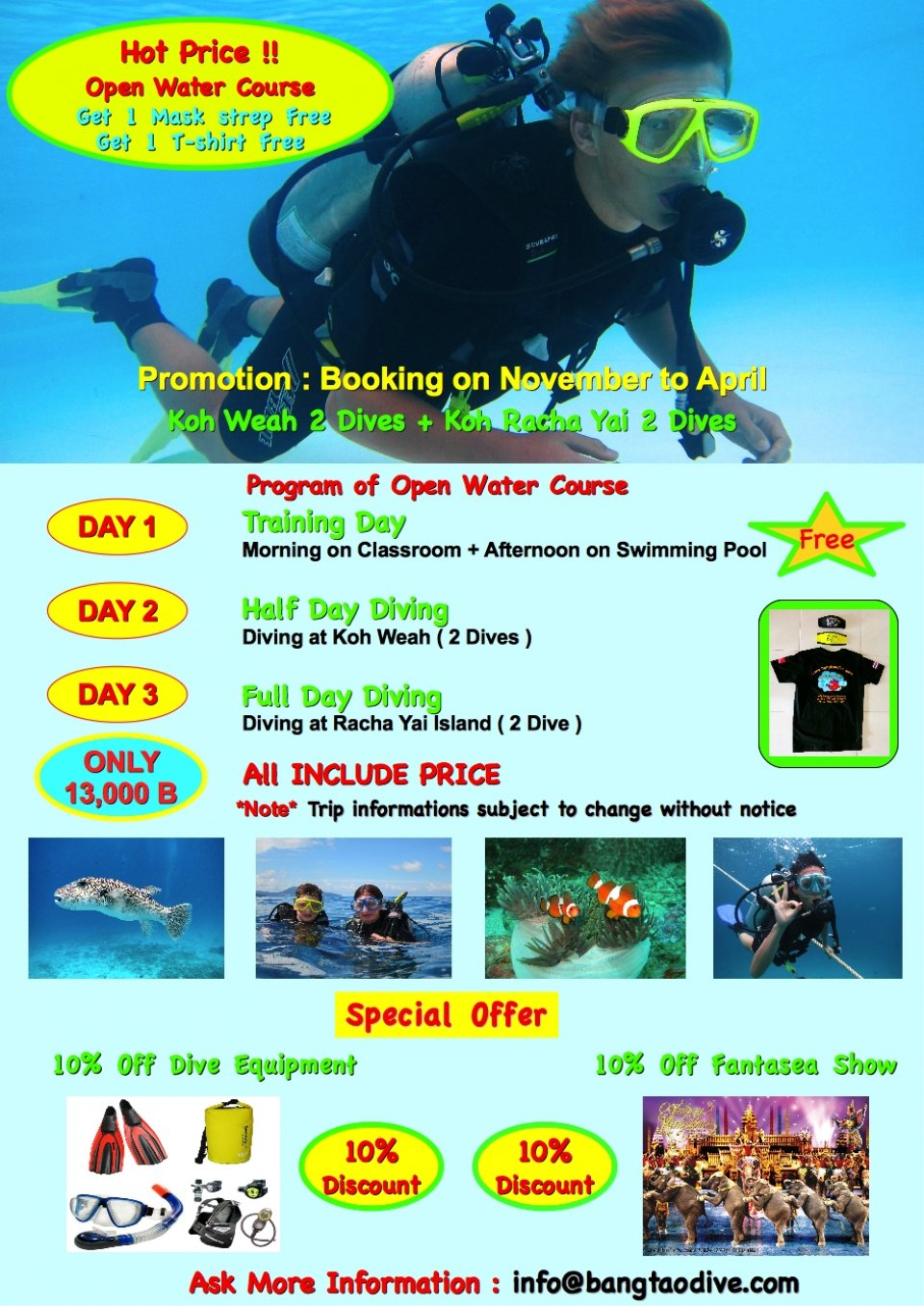 Hot Promotion for Open water course with Bangtao Dive center